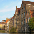 Medieval houses in Ghent above water - Stock Photo