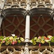 Details of medieval architecture of building on Grand Place in Brussels with flowers - Stock Photo