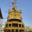 Medieval fashion ship in old port of Genova is a tourist attraction — Stock Photo