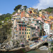 Panoramic view of Riomaggiore village area in Cinque Terre, Italy and no faces and logos recognizable — Stock Photo