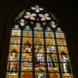 Stained glass window in cathedral — Stock Photo