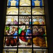Stained glass window in cathedral - Stock Photo