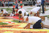 BRUSSELS, BELGIUM-AUGUST 14: Unidentified volunteers build African theme Flower Carpet on August 14, 2012 in Brussels. This biennial event attracts thousands of tour — Stock Photo