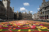 BRUSSELS, BELGIUM-AUGUST 15: Tourists from the entire world admire african theme Flower Carpet on Grand Place on August 15, 2012 in Brussels. This is biennial event with different themes. — Stock Photo