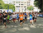"""ブリュッセル - 5 月 31 日: 2009 年 5 月 31 日ブリュッセル、ベルギーで 30""""20 km デ ブリュッセル「マラソンの開始を待っている年齢の別の参加者の約 30000. — ストック写真"""