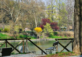 Parco Valentino in Turin in last day of march view from another side of river Po, no faces and logos — Stock Photo