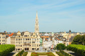 Mont des Arts point of view and a garden in Brussels in clear morning. No recognizable faces and logos. — Stock Photo