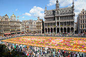 BRUSSELS, BELGIUM-AUGUST 15: The Flower Carpet 2012 with African theme attracted thousands of tourists on August 15, 2012 in Brussels. This biennial public event has different theme every time. — Stock Photo