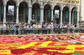 BRUSSELS, BELGIUM-AUGUST 14: Tourists arrive to see just finished The Flower Carpet 2012 on August 14, 2012 in Brussels. This biennial event attracts thousands of to — Stock Photo