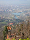 Panorama of Turin , view from Superga hill — Stock Photo