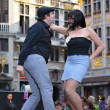 Joke dance on Grand Place during Celebrations of French Community on September 26, 2009 - Stock Photo