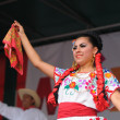 Xochicalli Mexican folkloric ballet performs in a concert on Grand Place — Stock Photo #23918181