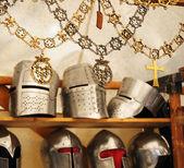 Artisan replicas of medieval knight's attributes — Stock Photo