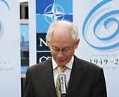 Herman Van Rompuy on opening of NATO Village in Parc de Bruxelles — Stock Photo