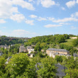 Green valley and a bridge in Luxembourg city — Stock Photo