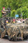 Military Parade during National Day of Belgium celebrations — Stock Photo