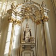 Statue of St. Aubertus, saint patron of bakers in Church of Our Lady of Chapel — Stock Photo #23948217