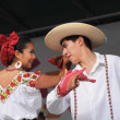 Xochicalli Mexican folkloric ballet performs in a concert on Grand Place — Stock Photo #23949679