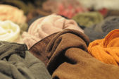Samples of wool fabrics of different colors — Stock Photo