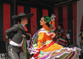 Dancers of Xochicalli Mexican folkloric ballet show national dance on Grand Place — Stock Photo