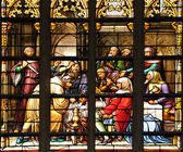 Stained glass window with scene of medieval plot — Stock Photo