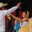 Xochicalli Mexican folkloric ballet performs in a concert on Grand Place — Stock Photo #23950613