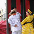 Xochicalli Mexican folkloric ballet performs in a concert on Grand Place — Stock Photo #23950657