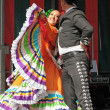 Xochicalli Mexican folkloric ballet performs in a concert on Grand Place — Stock Photo #23950973