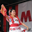 Xochicalli Mexican folkloric ballet performs in a concert on Grand Place — Stock Photo #23953343