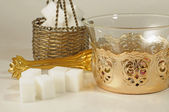 Old vintage set for tea with cubes of sugar — Stock Photo
