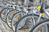 Bicycles for rent parked — Stock Photo