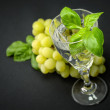 Mineral sparkling water with basil — Stock Photo