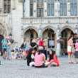 Tradition to sit on Grand Place — Stock Photo