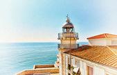 Vintage fotoğraf deniz feneri olarak styled — Stok fotoğraf