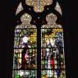 Stained glass window in neogothic Saint Barbara Church — Stock Photo #48134149