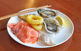Seafood on plate — Stock Photo