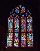 Stained glass window in The Collegial Notre-Dame of Huy — Stock Photo