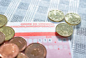 Payment order form with amount and euro coins closeup image — Stock Photo