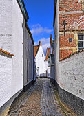 Medieval street in historical center of Courtrai — Zdjęcie stockowe