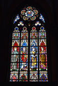 Stained glass window in Saint-Martin's Church of Courtrai — Stock Photo