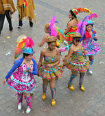 Bolivian team in national costumes participate in defile during yearly Halle Carnival — Stock Photo