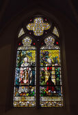 Stained glass window in neogothic Saint Barbara Church — Stock Photo