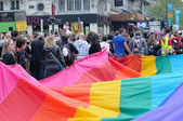 Participants of Gay Pride Parade in Brussels, Belgium — Stock Photo