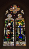 Stained glass window in neogothic Saint Barbara Church in Brussels — Stock Photo