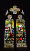 Stained glass window in Saint Barbara Church — Stock Photo