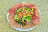 Salad with ham from Ardennes, fresh salad, carrots, mayonnaise and spices — Stock Photo
