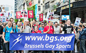 Activists of Gay Pride Parade participate in annual defile — Stock Photo
