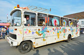 Bus decor for yearly Carnival of Halle, Belgium — Stock Photo