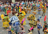 Members of Bolivian team in national costumes participate during yearly Halle Carnival — Stock Photo