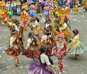 Bolivian team in national costumes participate during yearly Halle Carnival — Stock Photo